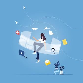 Mulher de negócios com interface vr de toque, no mundo da realidade virtual, tecnologia do futuro