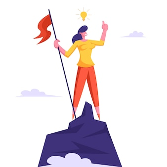 Mulher de negócios com lâmpada sobre a cabeça subiu ao topo da montanha e ergueu uma bandeira