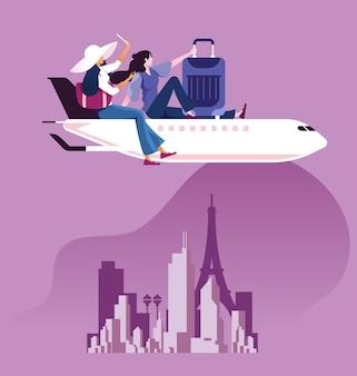 Mulher de negócios com mala de sentar em cima do avião para viajar