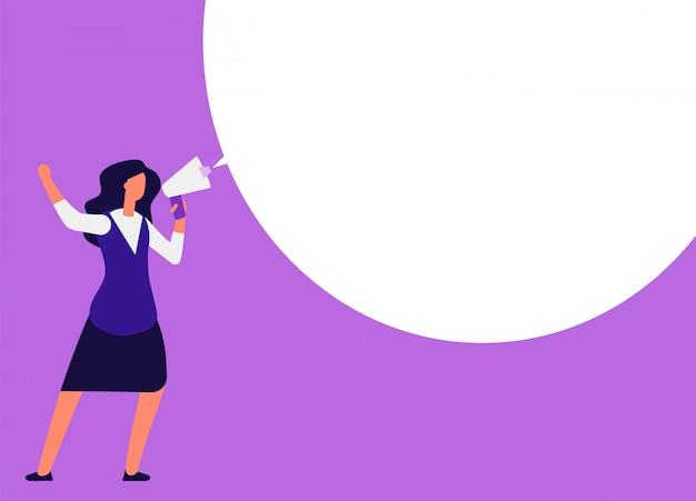 Mulher de negócios com megafone. mulher gritando no megafone com balão para mensagem. anúncio, marketing de evento