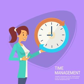 Mulher de negócios com o conceito de gerenciamento de tempo do relógio