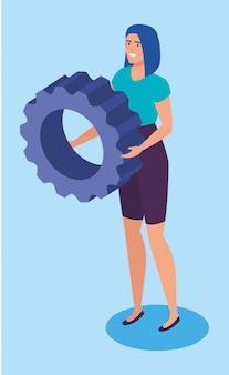 Mulher de negócios com personagem de avatar de engrenagem