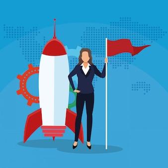 Mulher de negócios com sucesso de foguete de engrenagem de bandeira iniciar negócios