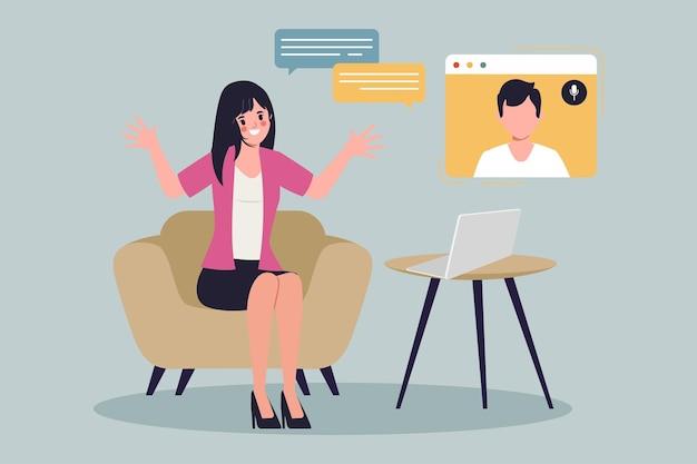 Mulher de negócios conferência reunião infográfico de comunicação flat vector design