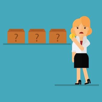 Mulher de negócios confuso onde investir
