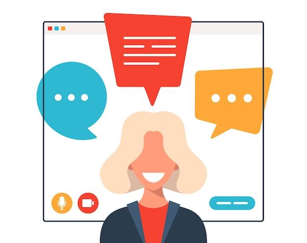 Mulher de negócios conversando durante videochamada