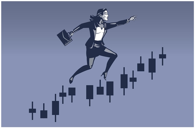 Mulher de negócios, dando um grande salto na barra do gráfico comercial. ilustração de negócios conceito de promoção de carreira financeira