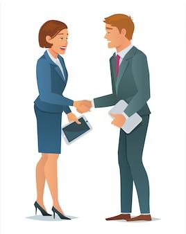 Mulher de negócios de aperto de mão e homem de negócios