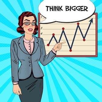 Mulher de negócios de arte pop apontando no gráfico de crescimento. apresentação de negócios.