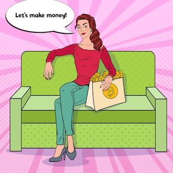 Mulher de negócios de arte pop com sacola de compras