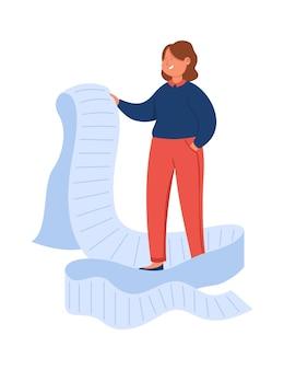 Mulher de negócios de desenho animado olhando através de uma lista gigante de tarefas