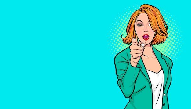 Mulher de negócios de gesto apontando o dedo para você estilo de quadrinhos retrô pop art. Vetor Premium