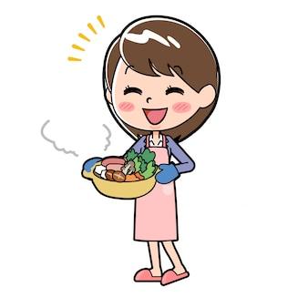 Mulher de negócios de linha de fora cozinhar um pote