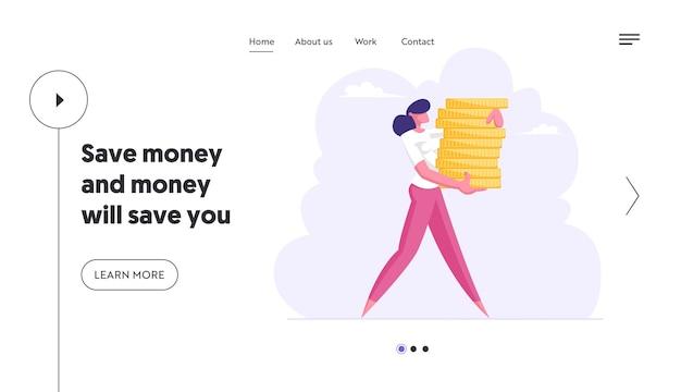 Mulher de negócios de sucesso carrega uma pilha de moedas de ouro conjunto de páginas de destino do conceito