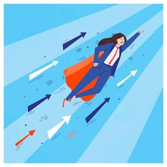 Mulher de negócios de super herói voando no ar com setas de crescimento
