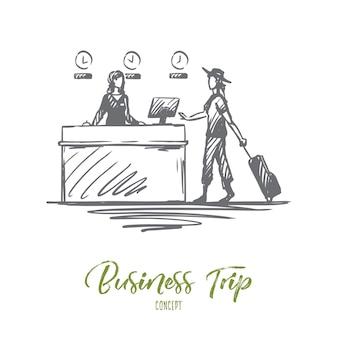 Mulher de negócios desenhada de mão com bagagem no esboço do conceito de registro do aeroporto