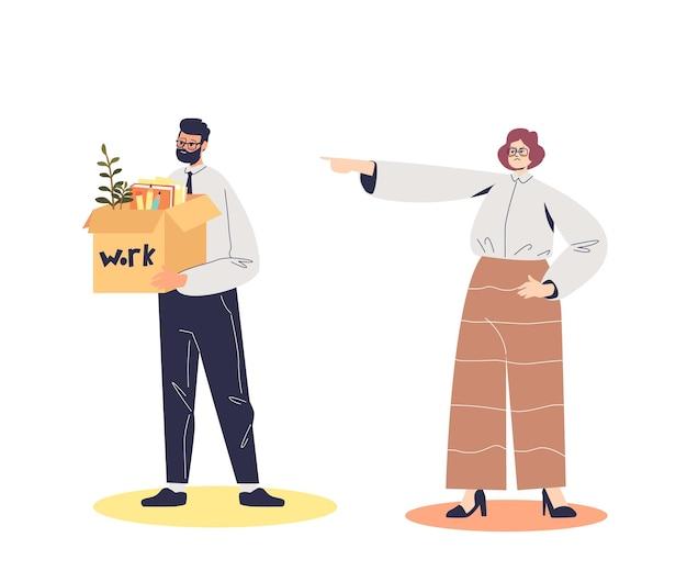 Mulher de negócios dispensando ilustração de funcionário