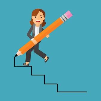 Mulher de negócios e caminho para o sucesso