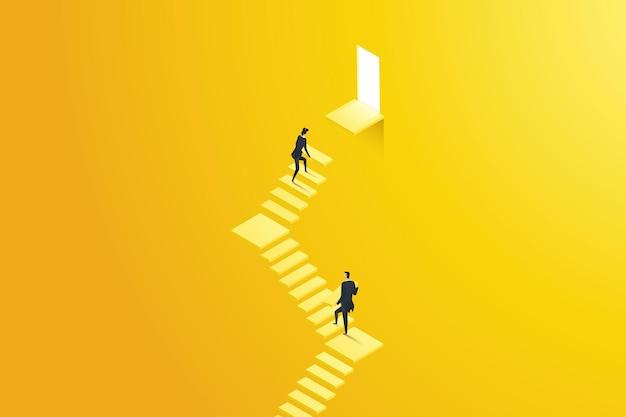 Mulher de negócios e empresário constroem uma escada para alcançar a meta da porta do último andar