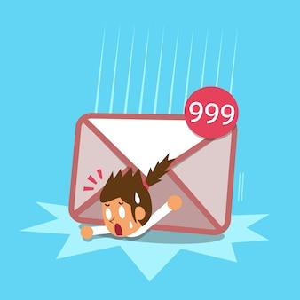 Mulher de negócios e grande mail ícone