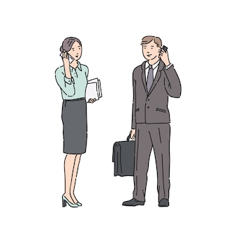 Mulher de negócios e homem de terno rigoroso, falando no telefone. ilustração no estilo de arte linha isolado no branco