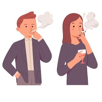 Mulher de negócios e homem fumando vício no escritório segurando bebidas de vinho