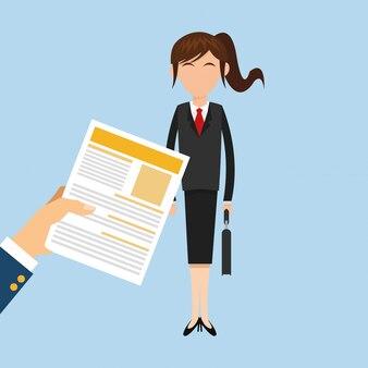 Mulher de negócios e itens relacionados ao escritório
