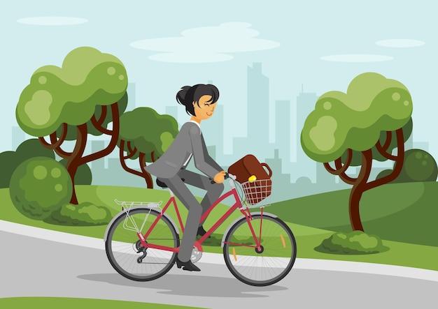Mulher de negócios em bicicleta mulher andando de bicicleta no parque da cidade bicicleta com cesto Vetor Premium