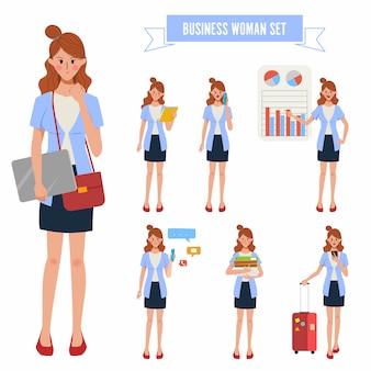 Mulher de negócios em caráter rotina diária de trabalho e estilo de vida.