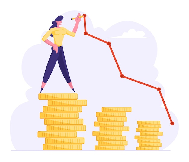 Mulher de negócios em cima de uma ilustração plana de moeda de ouro