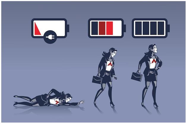Mulher de negócios em diferentes níveis de energia retratada como conceito de ilustração de negócios de vida útil da bateria