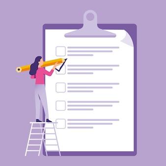 Mulher de negócios em pé e segurando a caneta para fazer checklist