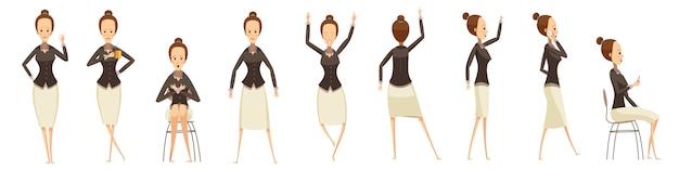 Mulher de negócios em várias poses definido