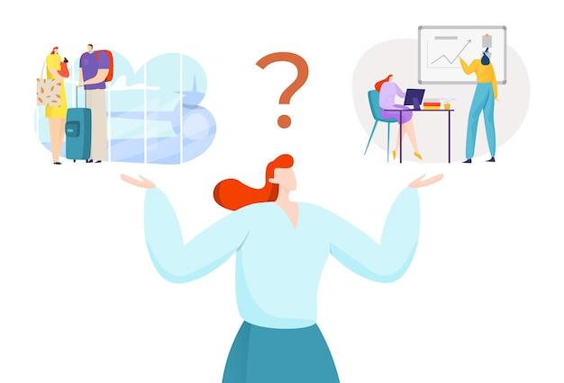 Mulher de negócios escolhe entre trabalho plano e ilustração do conceito de relaxamento