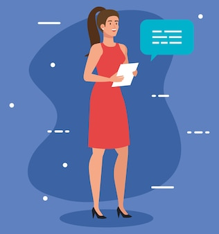 Mulher de negócios executiva elegante com design de ilustração de documento e balão de fala