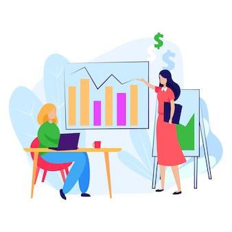Mulher de negócios, explicando o gráfico para o parceiro