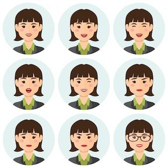 Mulher de negócios expresions avatar