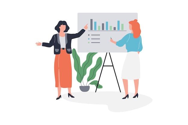 Mulher de negócios faz apresentação com gráfico e gráfico
