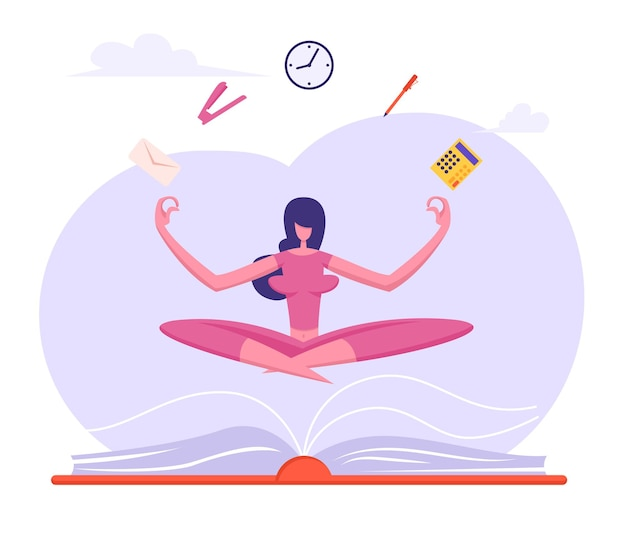 Mulher de negócios fazendo meditação de ioga na postura de lótus