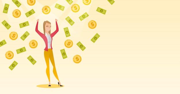 Mulher de negócios feliz sob chuva de dinheiro.