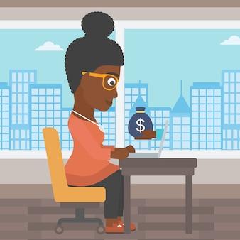 Mulher de negócios ganhando dinheiro de negócios online.