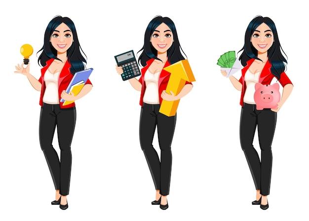Mulher de negócios gerente banqueiro linda garota bem-sucedida conjunto de três poses