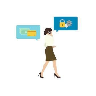 Mulher de negócios ilustrada com segurança bancária on-line