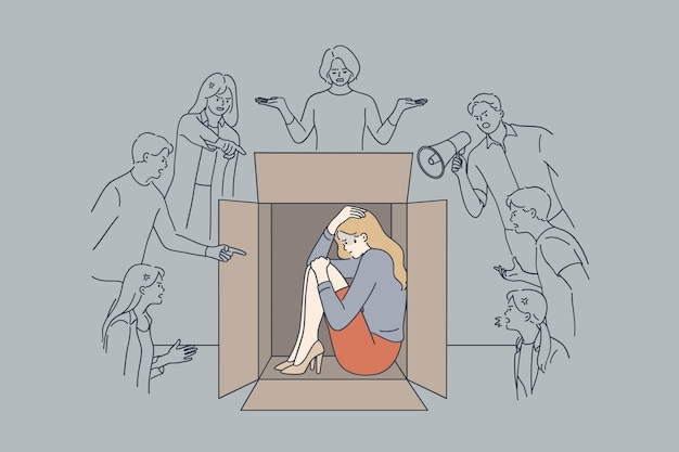 Mulher de negócios infeliz, estressada e assustada, sentada, escondida dentro de uma caixa