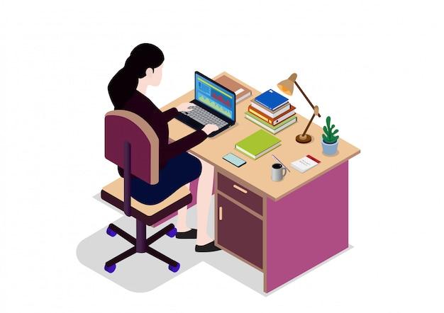 Mulher de negócios isométrica olhando para a tela do laptop