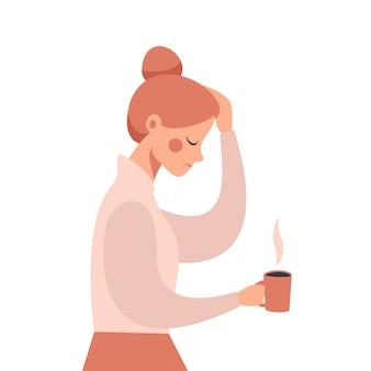 Mulher de negócios jovem com dor de cabeça severa, segurando a mão na cabeça. ilustração
