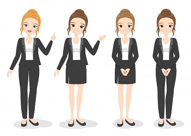 Mulher de negócios jovem em roupa de escritório com poses diferentes de mão e cor de cabelo. menina plana dos desenhos animados em uniforme formal (vestido, calça, terno). ilustração.