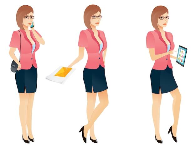 Mulher de negócios jovem sexy dos desenhos animados ou secretária em várias poses