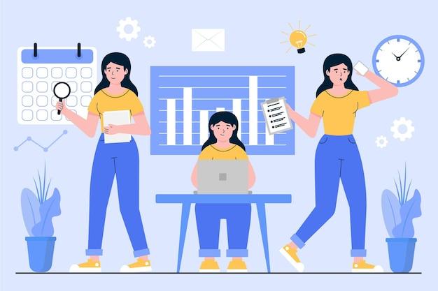 Mulher de negócios multitarefa desenhada à mão plana ilustrada
