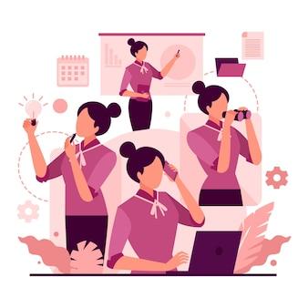 Mulher de negócios multitarefa desenhada à mão plana